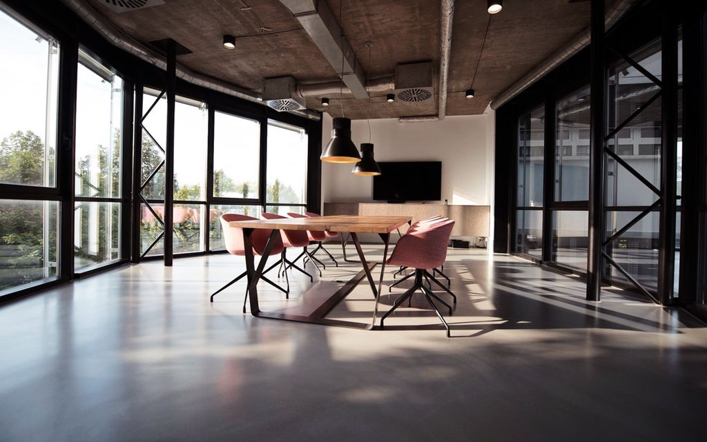 Office building with large table and chairs