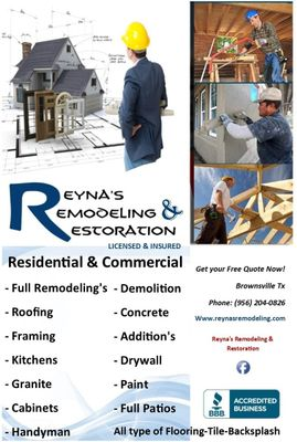 Reyna's Remodeling & Restoration Brownsville, TX Thumbtack