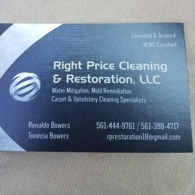 Right price cleaning & restoration, llc West Palm Beach, FL Thumbtack