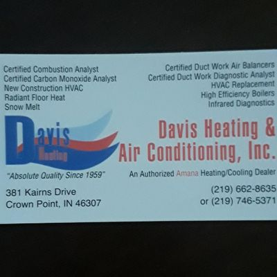 Davis Heating & Air Conditioning Crown Point, IN Thumbtack