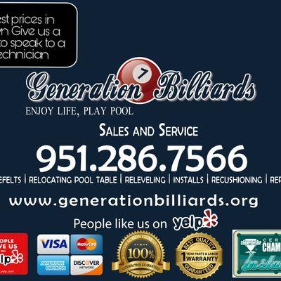 Generation Billiards pool table movers Perris, CA Thumbtack
