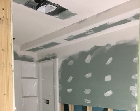 basement renovation with bathroom and shower