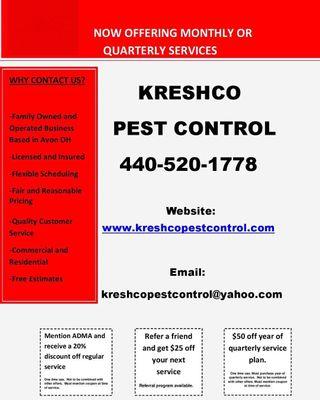 Kreshco pest control Avon, OH Thumbtack