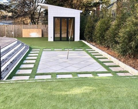 Backyard Putting Green & Paver Install with Playground
