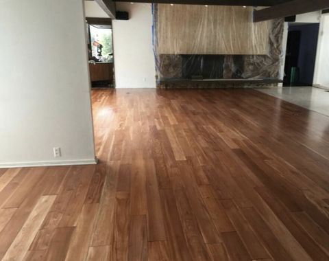 Floor installation, stain and water based finish