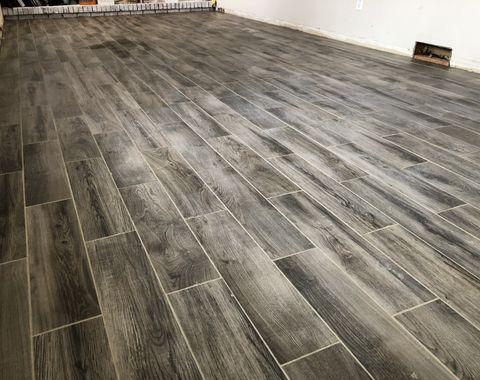 Family room tile installation