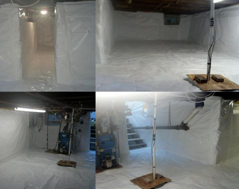 Completed Unfinished Basement waterproofing