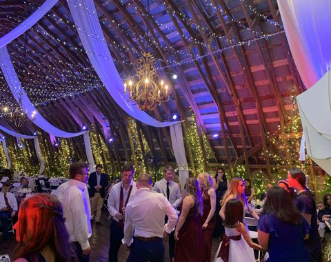 Wedding Ceremony and Reception with lights