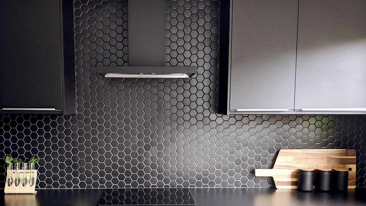 Black kitchen cabinets in modern kitchen