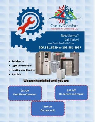 Quality comfort heating and air conditioning llc Kent, WA Thumbtack