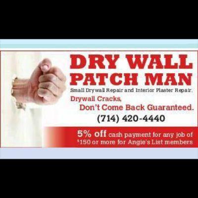 Dry Wall Patch Man Costa Mesa, CA Thumbtack